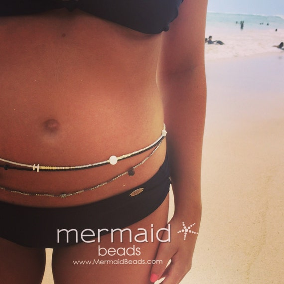 Waist Beads Sea Shell White Beaded Belly Chain Stretch Waist Beads Bridal Jewelry Beach Wedding ideas Convertible Bracelet Anklet Necklace