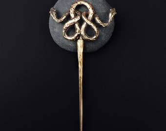 Double Snake Hair Stick, Bronze, handmade by Jamie Spinello