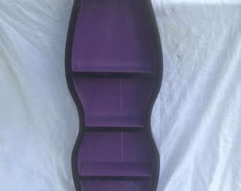 purple goth shelf   , knick knack shelf, display shelf, purple shelf unique curved shelf made from antique bow dresser drawer. OOAK