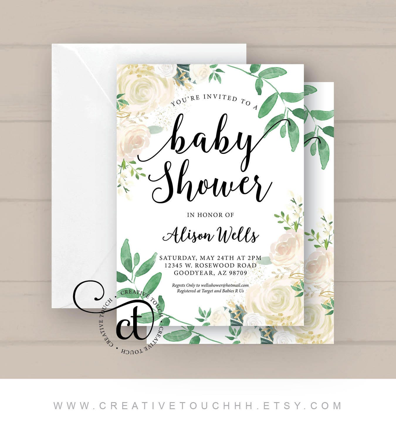 Baby Shower Invitation Baby Shower Invite White Roses Gold