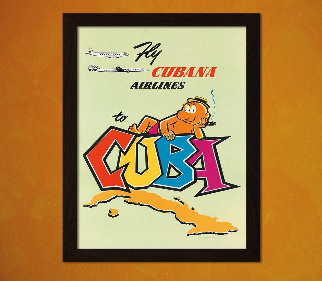 Cuba Travel Poster 50s Vintage Poster Retro Wall Decor