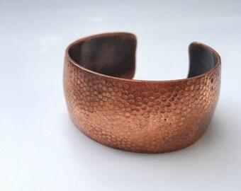 Vintage Hammared Textured Copper Bronze Cuff Bangle Bracelet