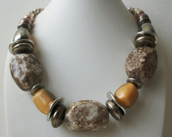 ON SALE Vintage Chunky Silver Marbleized Nuggets BOHO Necklace 12817