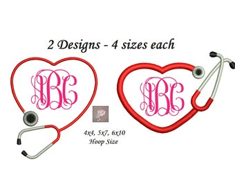 Medical Embroidery Design - 2 designs instant download - 4 sizes each 4x4, 5x7, 6x10 Heart Stethoscope Embroidery Design