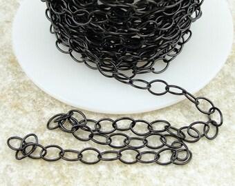 Black Chain - TierraCast Chain - Matte Black 5mm x 6mm Cable Chain - Medium Large Fine Link Jewelry Chain 20-0825-13
