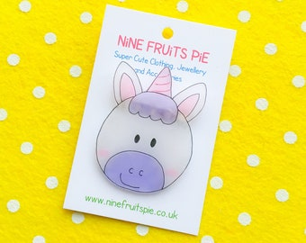 Giant Kawaii Magical Unicorn brooch in pink and Lilac