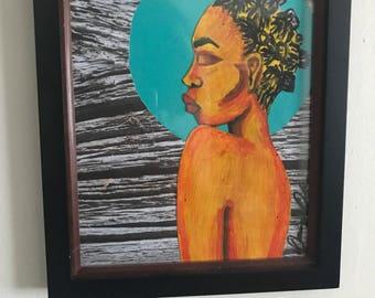 Black art black woman bantu knots natural hair