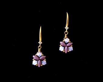 Swarovski earrings, Beaded earrings, Dainty earrings, Minimalist crystal earrings, Triangle earrings, Simple crystal earrings, Sweet 16 gift