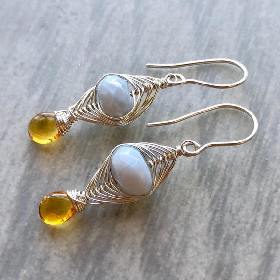 Herringbone Collection: Peruvian Blue Opal and Citrine Earrings, Baby Blue Opal and Deep Yellow Citrine, Herringbone Woven Silver Earrings