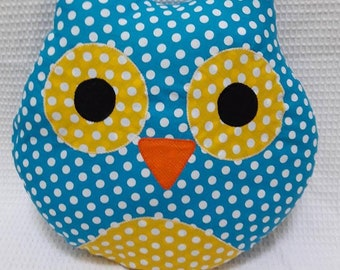 Cotton blue and yellow OWL pillow