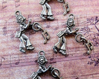Girl Listening to Music Charm -4 pieces-(Antique Pewter Silver Finish)--style 613--