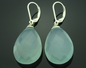 Extra Large Aqua Chalcedony Sterling Silver Leverback Earrings