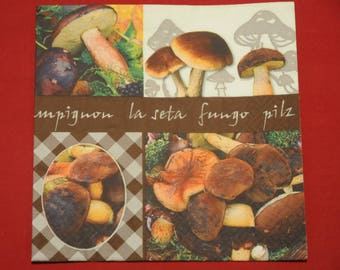 """fruits and vegetables """"Mushrooms"""" themed paper napkin"""