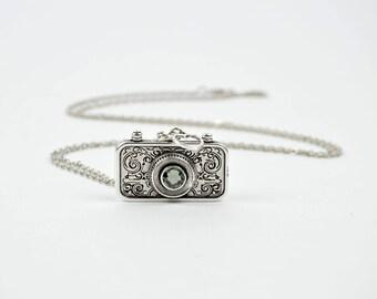Vintage Camera Necklace|Cam Necklace|Camera Pendant|Swarovski Necklace|Swarovski Camera|Everyday Necklace|Pendant Necklace|Necklace for Gift