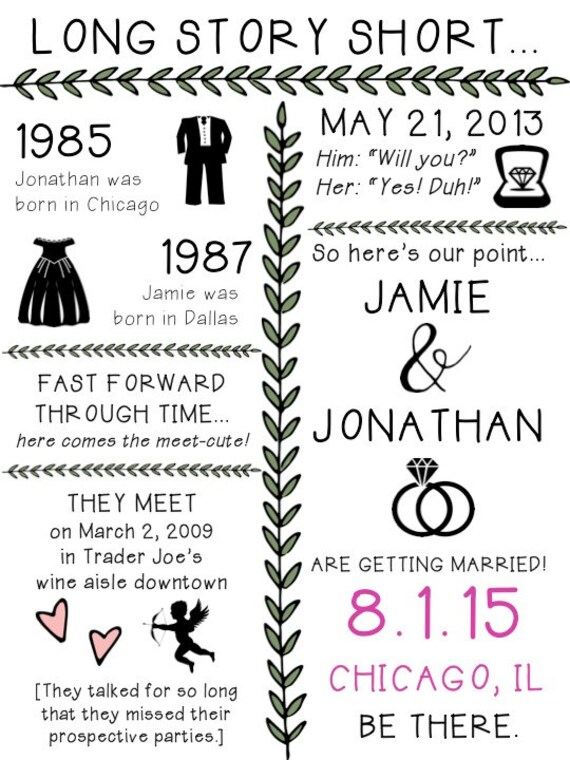 PRINTABLE Long Story Short Important Dates Sign or