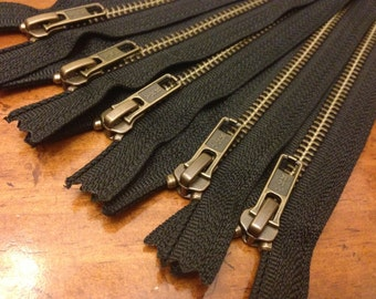 Antique brass 9 inch zippers, FIVE pcs, YKK metal zippers on black tape, YKK color 580, boot style pull