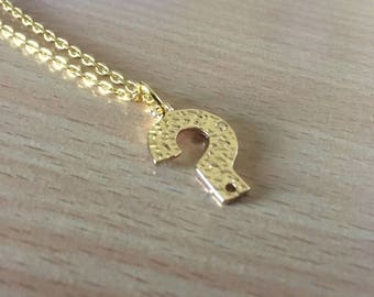 Question Mark Necklace, Gold Plated Question Mark Necklace, Punctuation Jewellery