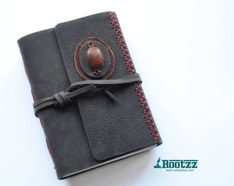 Leather journal with a picasso jasper gemstone- blanc paper
