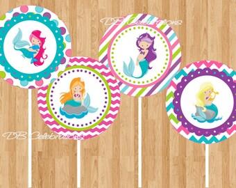 Mermaid Cupcake Toppers, Mermaid Birthday Party, Printable Mermaid Decorations, INSTANT DOWNLOAD, DIY Printable File, Summer Birthday Party