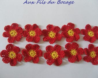 Crocheted appliques, set of 10 red and yellow flowers