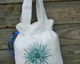 Linen Girl Handbag, Embroidered Wedding Sachet, Small Handmade Blue Flower Bag, White, Rustic Party Bag