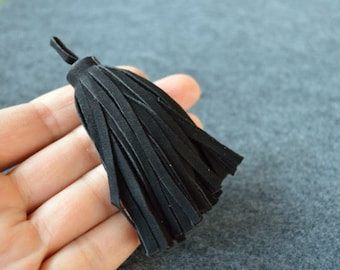 Black Suede Leather Tassel 8.5cm Large Charms Pendant