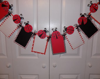 Ladybug Sparkle Photo Banner for Birthday Party, First Birthday, Parties and MORE - 12 frame w/ detachable favor clips