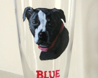Personalized Fathers Day, Custom Beer Glass, Pitbull Art, Pilsner, Dog Painting, Barware Decor, Pet Portrait, Dog Lover, Rescue, Bar Decor