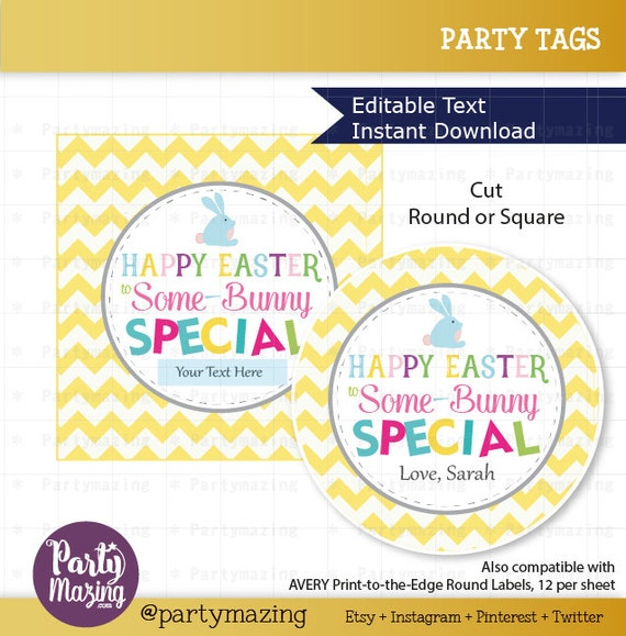 Editable easter tag printable party favor sticker cute editable easter tag printable party favor sticker cute some bunny special tag round or square topper instant download d824 hoea1 negle Choice Image