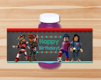 Roblox Bubble Label - Chalkboard - Roblox Bubble Bottle Wrapper - Roblox Party - Roblox Printables - Roblox Birthday Party Favors