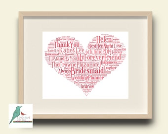 Wedding Thank You Bridesmaid / Mother of The Bride etc Personalised Word Art Gift Keepsake DIGITAL IMAGE