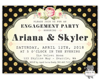 Engagement Party Invitation, Black and Gold Engagement Party Invitation, Engagement Party Ideas, Printable Invite or Printed Invitations