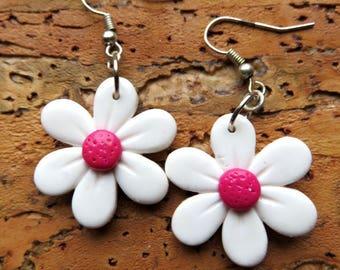 """Earrings fancy daisies in the pink heart"""""""