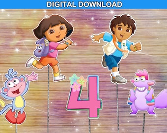 Dora the explorer centerpiece - cake topper double sided birthday decoration - digital download YOU PRINT