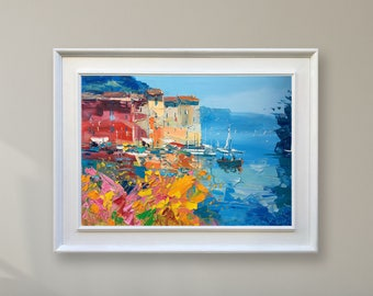 Portofino Painting on Canvas Cinque Terre Italy Painting Seascape Wall Art with Colourful Houses Modern Art for Home Decor Gift for Women