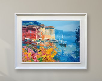 Portofino Painting Original Painting Oil Painting Canvas Art Seascape Wall  Art Modern Home Decor Art Wall