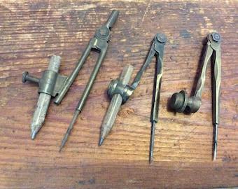 Vintage 1920's, three brass compasses, vintage tools, hand tools.
