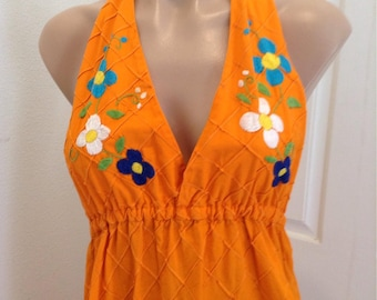Vintage Mexican Embroidered Halter Dress Boho Festival Hippie 1970s