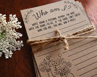 Who Am I Game . Who Am I Bridal Shower Game . Printable Memories of the Bride Game . Bridal Shower Ice Breaker . Rustic, Instant Download .