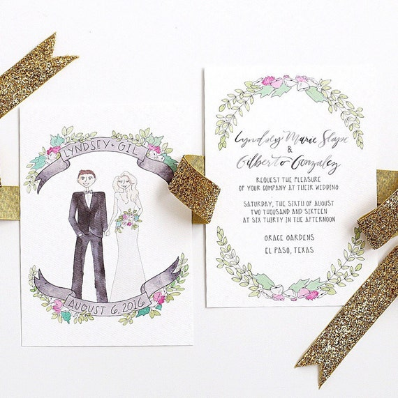 Custom couple watercolor wedding invitation suite invitation junglespirit Choice Image