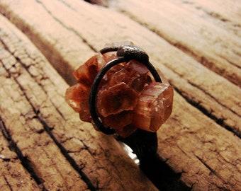 Raw Aragonite ring - dryzy Aragonite Ring - Aragonite Jewelry - Aragonite Stone - Aragonite geode - Tiffany Method - Retro Boho Jewelry