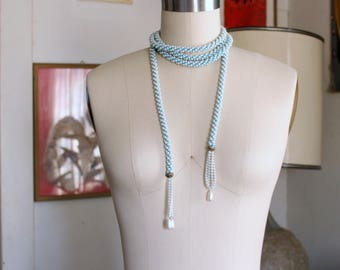 """plastic vintage flapper style sautoir rope necklace . pearl look crocheted on aqua turquoise thread, tassel lariat necklace - 82"""" long"""