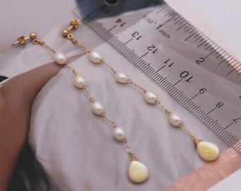 Freshwater Pearl Earrings Long Dangle Earrings Teardrop earrings Mother of Pearl Earrings party Earrings on 14k Gold-filled