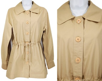Vintage 80's SEARS Spring Light Tan Jacket Coat Drawstring Waist w/ Attched Pouch Size12