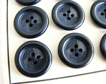 Navy blue buttons, Vintage tagua nut buttons with texture, Buttons on cards, 15 mm or 21 mm, UNUSED!