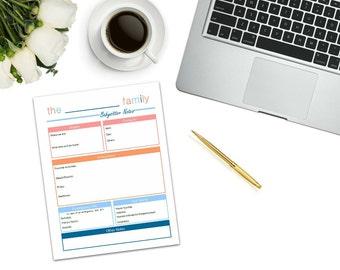 Babysitter Notes Printable | digital download | home binder | babysitter form | babysitter checklist | babysitter printable | babysitter kit