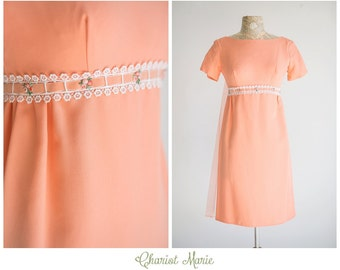 Vintage Peach Mini Dress - 1960's Babydoll Dress with Chiffon Draping - Pastel Peach Dress with Floral Appliques - Size Small
