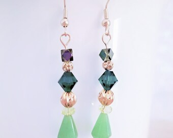 Jade and Emerald Green Crystal Drop Earrings