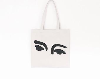 Matisse eyes hand painted organic cotton tote bag