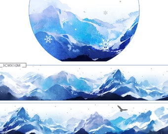 1 Roll Limited Edition Silver Foiled Washi Tape: Snow Mountain
